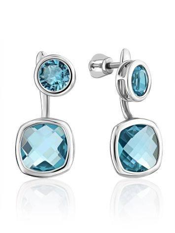 Transformable Silver Topaz Stud Earrings, image