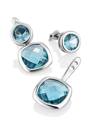 Transformable Silver Topaz Stud Earrings, image , picture 4