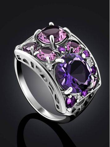 Lustrous Silver Amethyst Ring, Ring Size: 6.5 / 17, image , picture 2