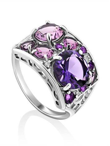 Lustrous Silver Amethyst Ring, Ring Size: 6.5 / 17, image