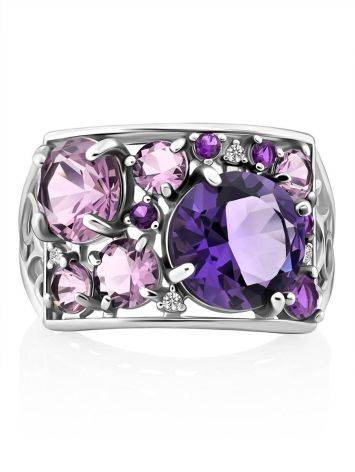 Lustrous Silver Amethyst Ring, Ring Size: 6.5 / 17, image , picture 4