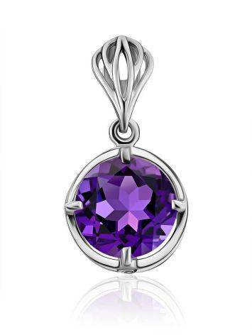 Classy Silver Pendant With Amethyst And Crystals, image