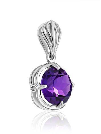 Classy Silver Pendant With Amethyst And Crystals, image , picture 4
