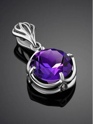 Classy Silver Pendant With Amethyst And Crystals, image , picture 2