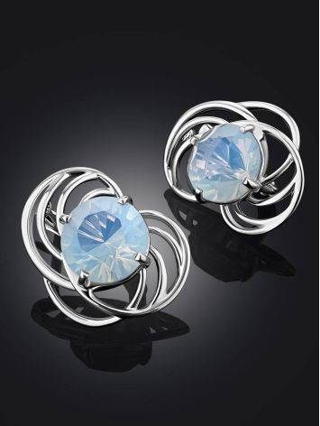Chic Silver Earrings With Blue Agate Centerstones, image , picture 2