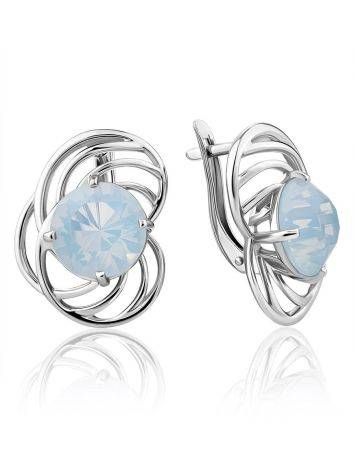 Chic Silver Earrings With Blue Agate Centerstones, image