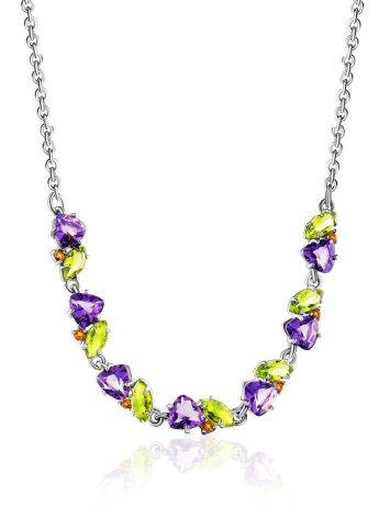 Dazzling Silver Necklace With Amethyst And Chrysolite, image