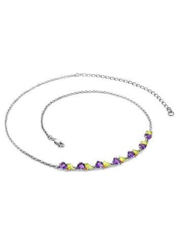 Dazzling Silver Necklace With Amethyst And Chrysolite, image , picture 3