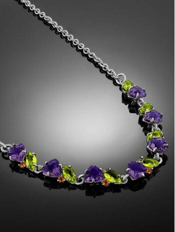 Dazzling Silver Necklace With Amethyst And Chrysolite, image , picture 2