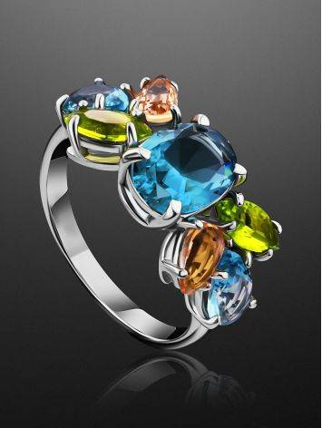 Chic Silver Ring With Topaz Ana Morganite, Ring Size: 6 / 16.5, image , picture 2