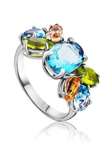 Chic Silver Ring With Topaz Ana Morganite, Ring Size: 6 / 16.5, image