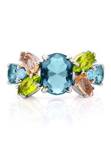 Chic Silver Ring With Topaz Ana Morganite, Ring Size: 6 / 16.5, image , picture 3