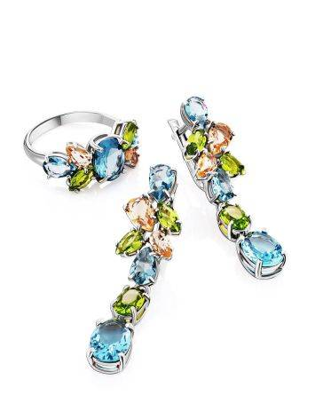 Lustrous Silver Dangles With Topaz And Morganite, image , picture 3