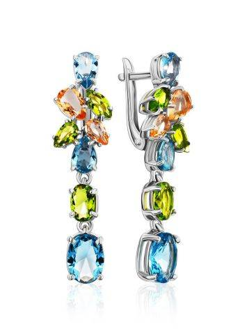 Lustrous Silver Dangles With Topaz And Morganite, image