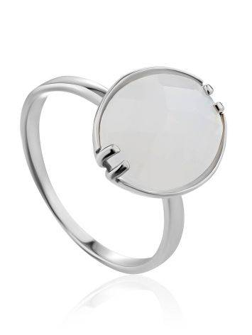 Silver Moon Stone Ring, Ring Size: 8.5 / 18.5, image