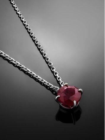 Simplistic Design Silver Ruby Necklace, image , picture 2