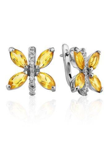 Lustrous Silver Citrine Butterfly Earrings, image