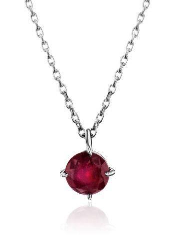 Simplistic Design Silver Ruby Necklace, image
