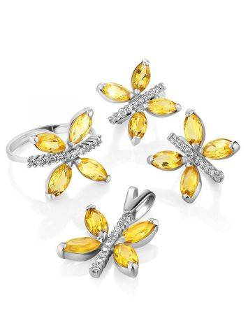 Lustrous Silver Citrine Butterfly Earrings, image , picture 3