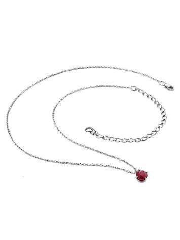 Simplistic Design Silver Ruby Necklace, image , picture 3