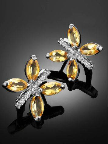 Lustrous Silver Citrine Butterfly Earrings, image , picture 2