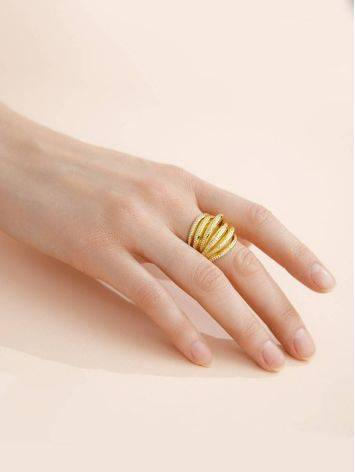 Bold Gilded Silver Crystal Ring, Ring Size: 8 / 18, image , picture 3