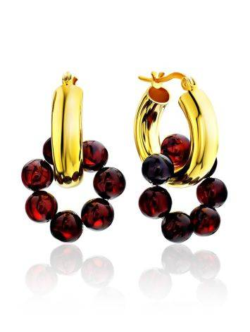 Designer Gilded Silver Hoops With Natural Amber The Palazzo, image