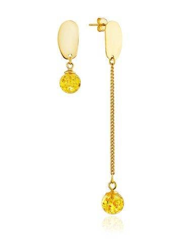 Mismatched Gilded Silver Chain Earrings With Amber The Palazzo, image