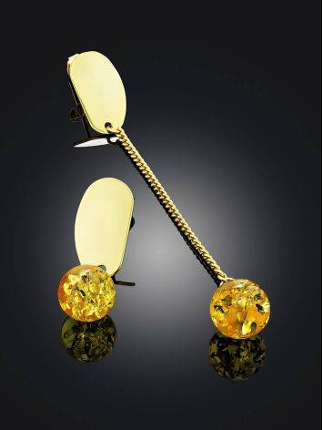 Mismatched Gilded Silver Chain Earrings With Amber The Palazzo, image , picture 2