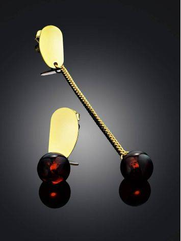 Mismatched Gold-Plated Silver Earrings With Natural Amber The Palazzo, image , picture 2