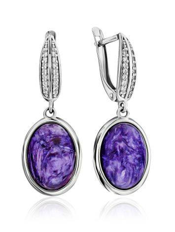 Refined Silver Charoite Dangle Earrings, image