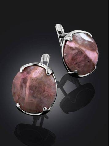 Silver Earrings With Faceted Pinkish Rhodonite, image , picture 2