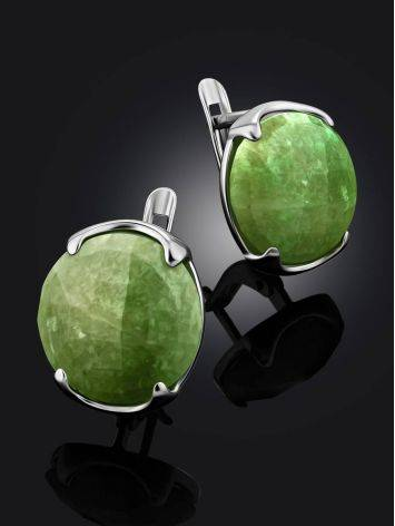 Stylish Silver Vesuvianite Earrings, image , picture 2