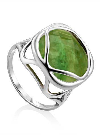 Voluminous Silver Ring With Green Vesuvianite Centerpiece, Ring Size: 8.5 / 18.5, image