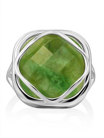 Voluminous Silver Ring With Green Vesuvianite Centerpiece, Ring Size: 8.5 / 18.5, image , picture 3