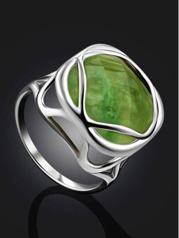 Voluminous Silver Ring With Green Vesuvianite Centerpiece, Ring Size: 8.5 / 18.5, image , picture 2