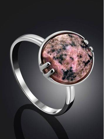 Chic Silver Ring With Faceted Oval Rhodonite Stone, Ring Size: 8.5 / 18.5, image , picture 2