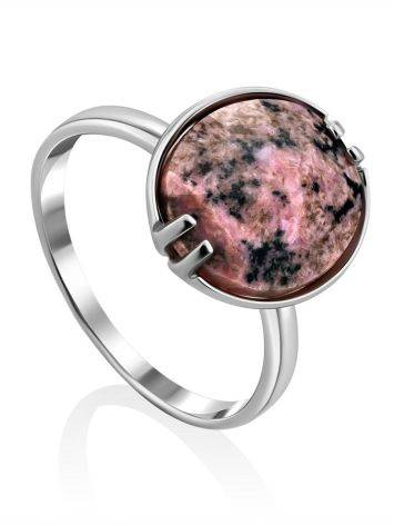 Chic Silver Ring With Faceted Oval Rhodonite Stone, Ring Size: 8.5 / 18.5, image