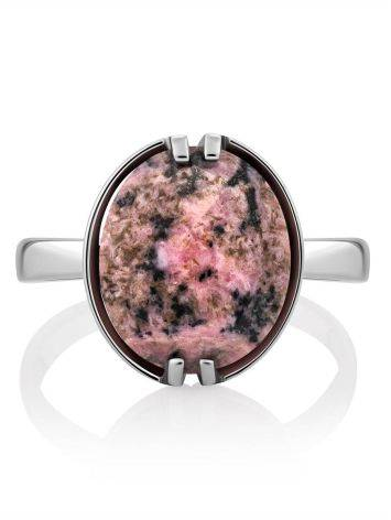 Chic Silver Ring With Faceted Oval Rhodonite Stone, Ring Size: 8.5 / 18.5, image , picture 3