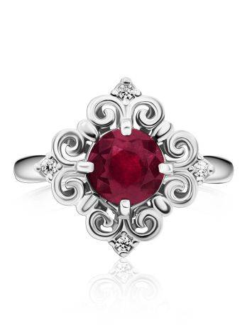 Ornate Silver Garnet Ring With Crystals, Ring Size: 8.5 / 18.5, image , picture 3