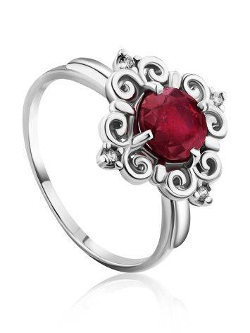 Ornate Silver Garnet Ring With Crystals, Ring Size: 8.5 / 18.5, image