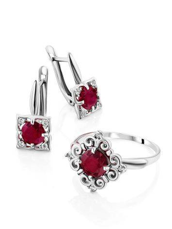 Charming Silver Garnet Earrings With Crystals, image , picture 3