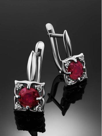 Charming Silver Garnet Earrings With Crystals, image , picture 2