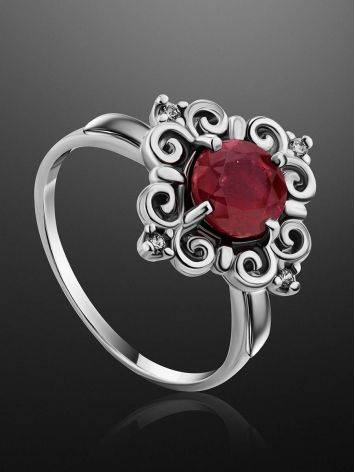 Ornate Silver Garnet Ring With Crystals, Ring Size: 8.5 / 18.5, image , picture 2