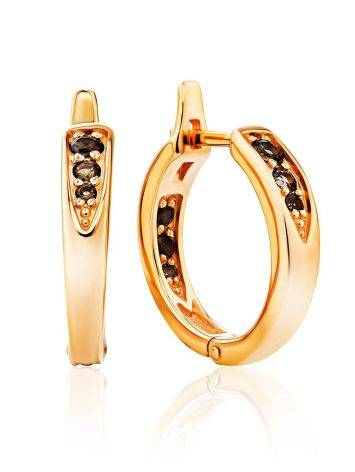 Chic Gold Plated Silver Hoops With Smoky Quartz, image