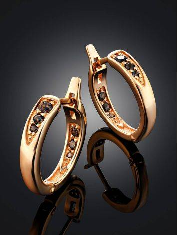 Chic Gold Plated Silver Hoops With Smoky Quartz, image , picture 2