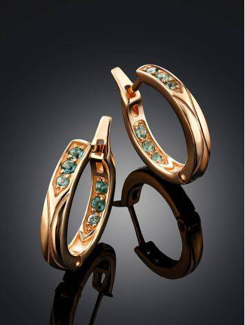 Medium Size Gilded Silver Hoops With Prasiolite, image , picture 2