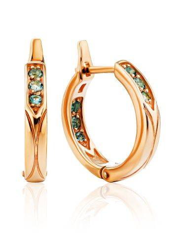 Medium Size Gilded Silver Hoops With Prasiolite, image