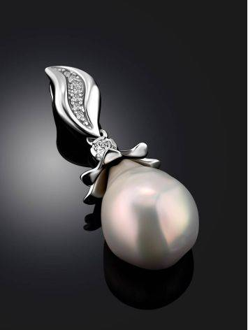 Classy Silver Pendant With Baroque Pearl And Crystals, image , picture 2