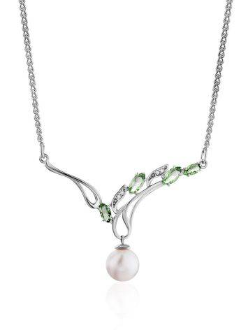 Refined Silver Pearl Necklace With Prasiolite, image